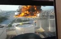 لحظه شروع حریق مخزن ضایعات نفتی پالایشگاه تهران