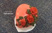طرز تهیه کیک زیبای ولنتاین - کیک قلب و گل رز ولنتاین