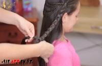دانلود کلیپ آموزش آرایش مو دخترانه + بافت مو مدل گل