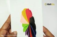 آموزش کاردستی یک گل رنگی قلبی شکل با کاغذ رنگی