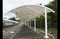 پوشش هلالی سایبان خودرو مجتمع تجاری- سقف چادری خودرو