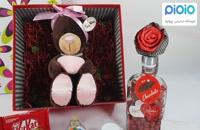 کادو آماده ولنتاین با عروسک خرس قلب به دست نشسته