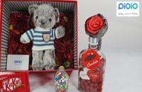 کادو آماده ولنتاین با عروسک خرس لباس برفی آبی