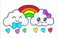 آموزش نقاشی ساده برای کودکان - ابر و رنگین کمان