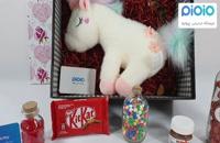 کادو آماده ولنتاین با عروسک اسب تک شاخ سفید
