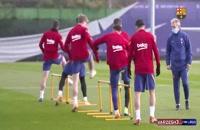 تمرینات بارسلونا با حضور ستارگان تیم