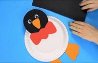 درست کردن پنگوئن با بشقاب یکبار مصرف
