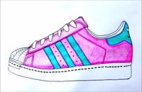 آموزش نقاشی ساده برای کودکان - کفش کتونی