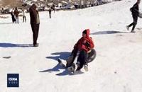 تفریح مردم در قله برف انبار قم