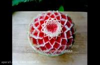 آموزش کنده کاری نقش گل روی هندوانه!!