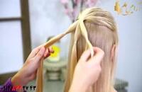 فیلم آموزش آرایش مو دخترانه + بافت مو مدل آویز