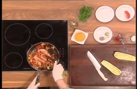 آموزش پخت بادمجان پرشده با مرغ و سبزیجات