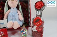 کادو آماده ولنتاین با عروسک خرگوش چشم بسته آبی