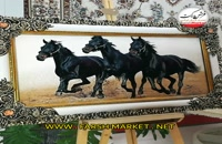 تابلو فرش اسب سیاه- فرش مارکت - خريد اينترنتي فرش کاشان