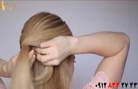 کلیپ آموزش شینیون زیبا مو با گره در خانه