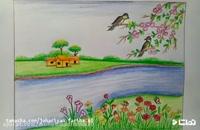 آموزش نقاشی به کودکان | این قسمت نقاشی سیزده بدر