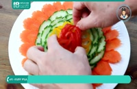 تزیین بشقاب سبزیجات با هویج و خیار