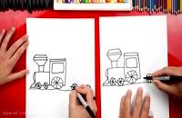 آموزش نقاشی به کودکان - نقاشی قطار کریسمس