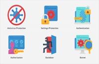 پروژه آماده پریمیر نمادهای متحرک امنیت سایبری