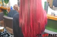 فیلم آموزش بالیاژ مو با رنگ قرمز فانتزی