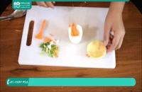 ایده ای خلاقانه برای تزیین سفره با سیب زمینی و سبزیجات