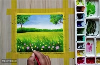 نقاشی ساده از طبیعت - آبرنگ بسیار زیبا و ساده