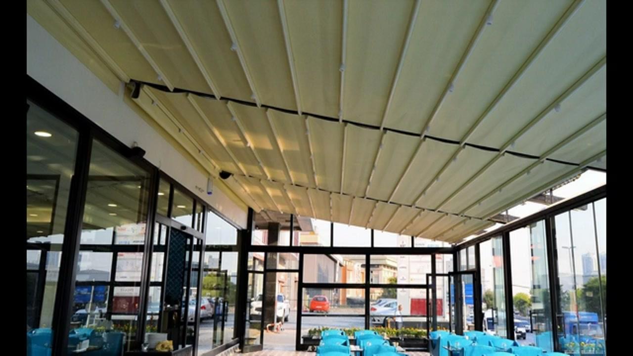 حقانی 09380039391-جدیدترین سایبان ریموتدار حیاط رستوران- سقف متحرک چراغدار دار روفگاردن تالار