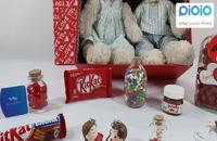 کادو آماده ولنتاین با عروسک خرس زوج خاکستری