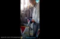 شستشو صندلی اتوبوس با بخار شستشو اتوبوس مسافربری با بخار بخارشویی صندلی اتوبوس