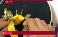 آموزش روبان دوزی سبد پر از گل بنفشه