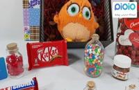 کادو آماده ولنتاین با عروسک جوجه رنگی نارنجی