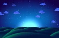 تپه های بالا پایین زیر آسمان شب